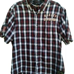 Harley-Davidson Men's Large Plaid Button Up Shirt